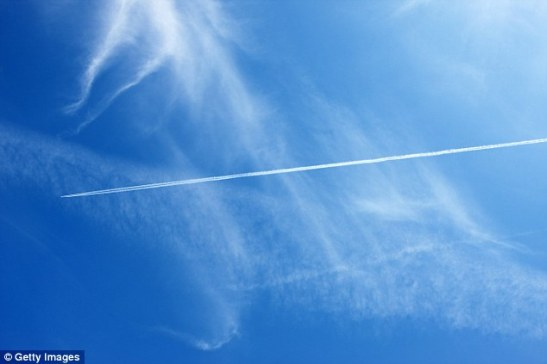 Cirrus clouds with contrails